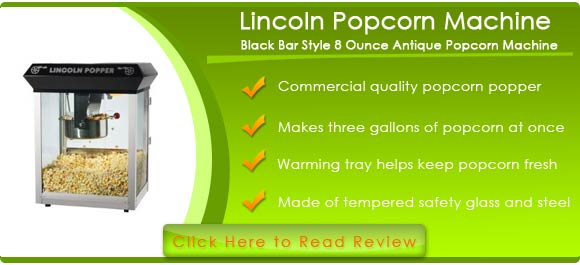 Lincoln Eight Ounce Antique Popcorn Machine in Black